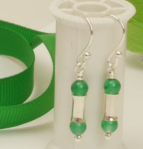 Green Agate Silver Earrings - earrings