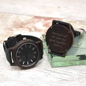 Personalised Wrist Watch Wooden Dark Wood - sale
