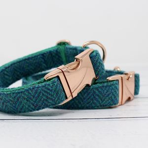 Mungo Rose Gold Harris Tweed Dog Collar