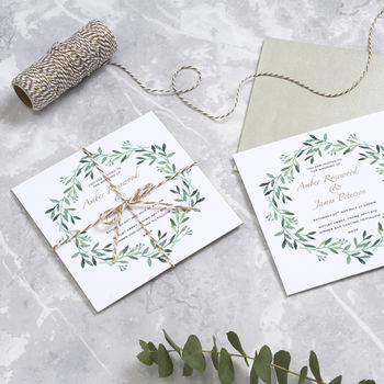 Gold Foil 'Laurel' Botanical Wedding Stationery