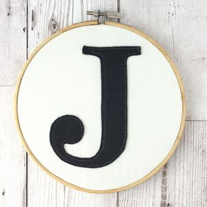 Embroidered Felt Monogram Embroidery Hoop