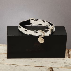 The Balmoral Black And White Fir Tree Dog Collar
