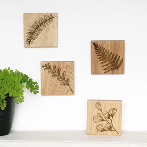Fern Engraved Oak Wall Plaque - home accessories