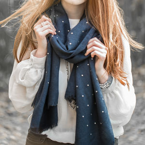 Grey And Gold Stud Scarf - scarves