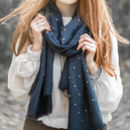 Grey And Gold Stud Scarf
