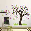 Tree With Owls, Birds And Branch Wall Sticker Set