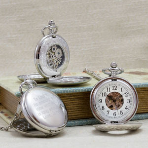 Antique Style Mechanical Personalised Pocket Watch - 60th birthday gifts
