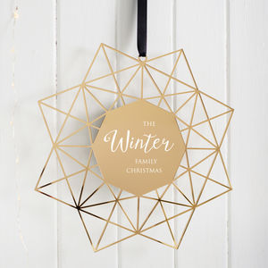 Personalised Geometric Family Christmas Wreath