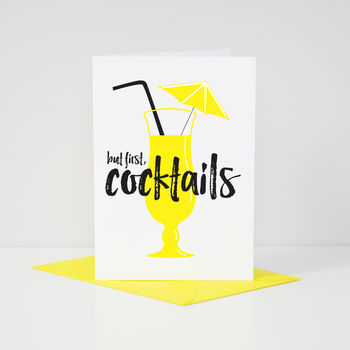 Contemporary 'But First, Cocktails' Yellow Card