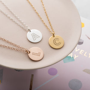 Personalised Letter In Lights Coin Necklace