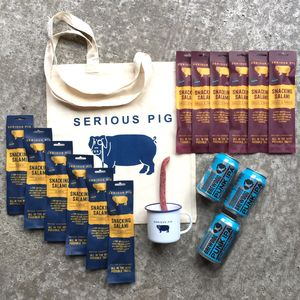 Serious Snacking Salami Craft Beer And Mug Gift Set - wines, beers & spirits