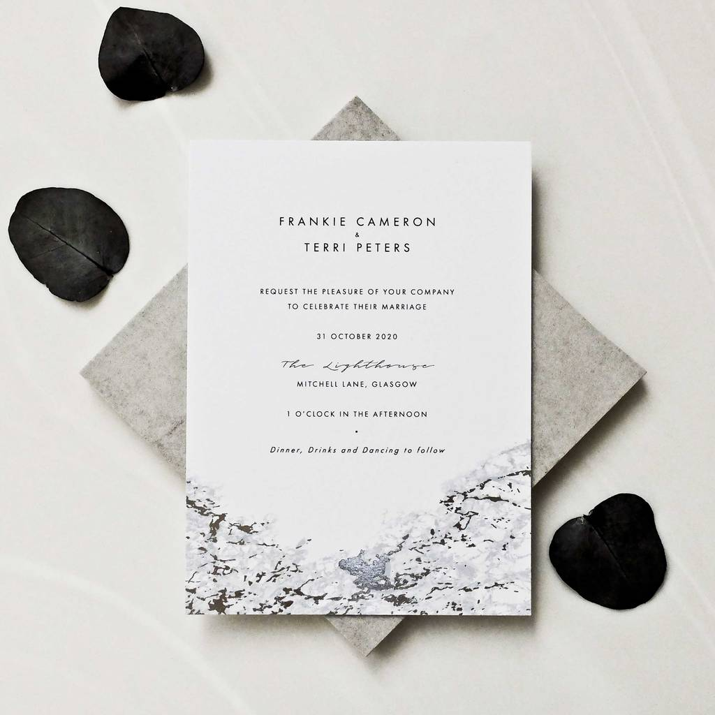 Marble And Foil Invitation Suite