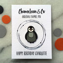 Penguin Enamel Pin On Personalised Backing Card