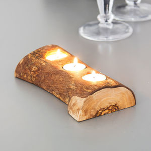Rustic Olive Wood Tea Light Holder - dining room