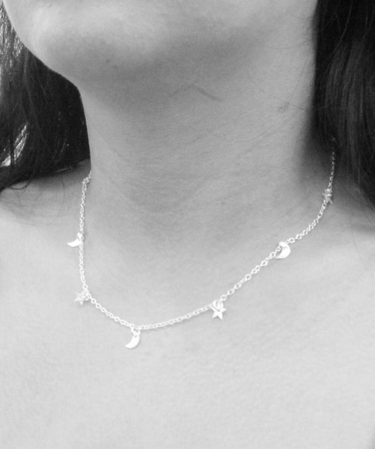 Sterling Silver Small Moon And Stars Charms Necklace