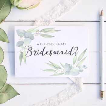 Bridesmaid Proposal Card Eucalyptus Bridesmaid Card