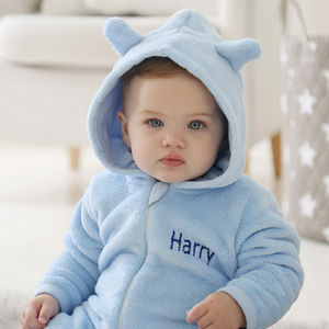 Personalised Bear Fleece Onesie Blue - babygrows