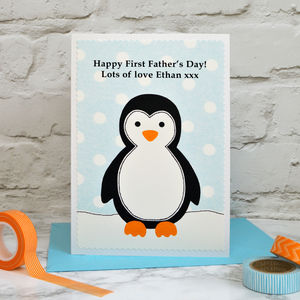 'Penguin' Personalised First Father's Day Card