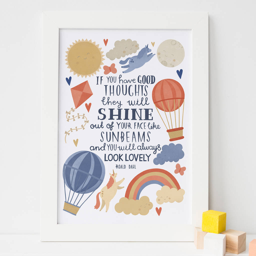 'Good Thoughts' Typography Wall Art Print