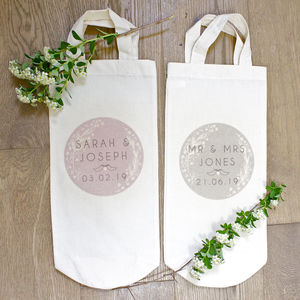 Personalised Cotton Bottle Bag - wedding favours