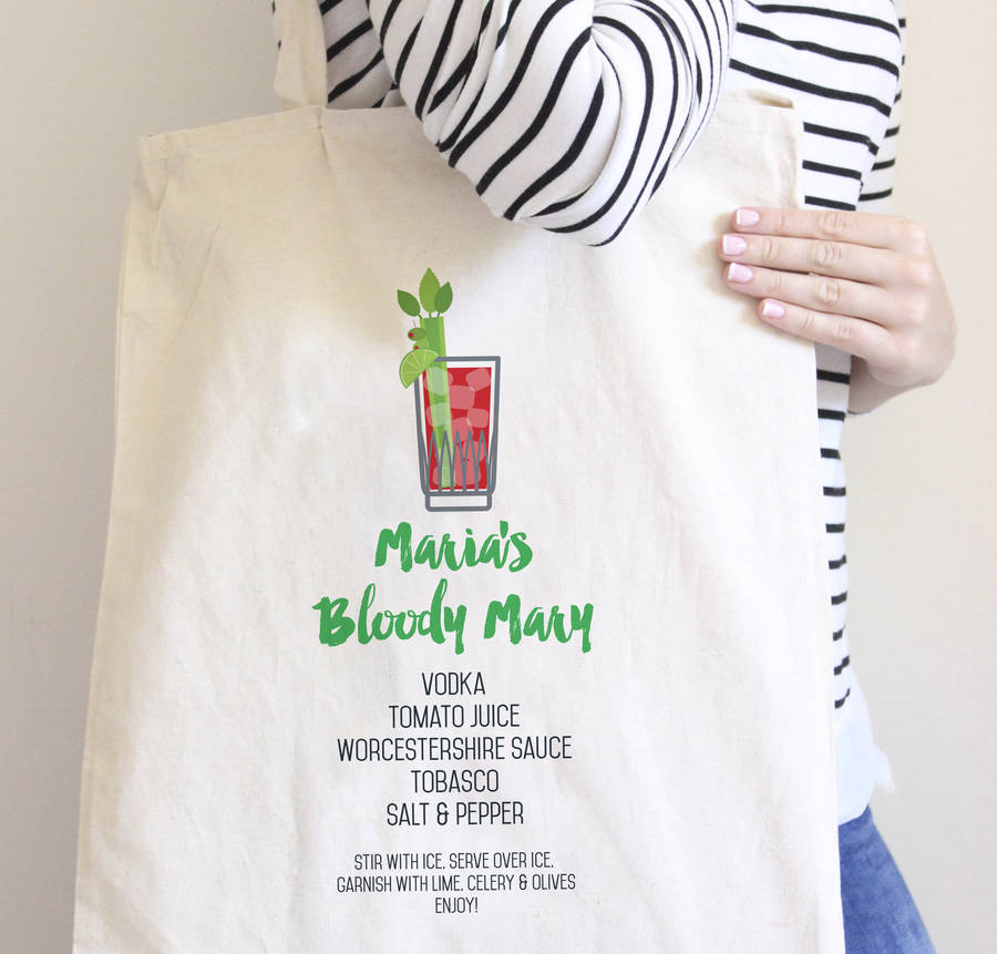 Personalised Bloody Mary Cocktail Recipe Tote Bag