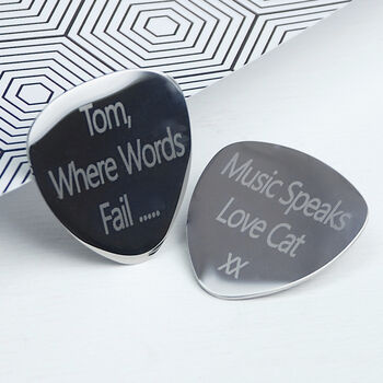 Personalised guitar plectrum - choose to engrave on both sides. Segoe font