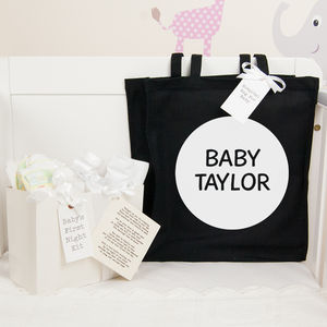 Personalised Round Hospital Bag And First Night Kit - baby care