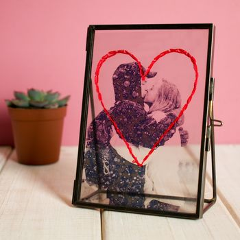 Personalised Hand Embroidered Heart Photo And Frame