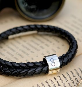 Infinity Black Wrapped Mens Leather Bracelet