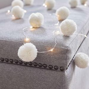White Pom Pom Fairy Lights Garland