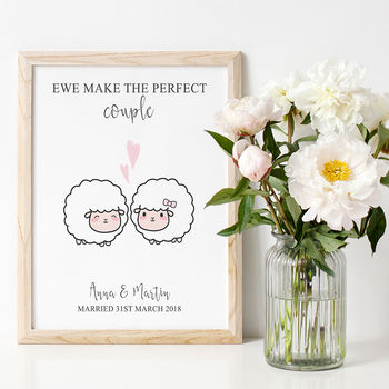 Personalised Sheep Couple Wedding Print