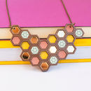 Honeycomb Geometric Statement Necklace Large