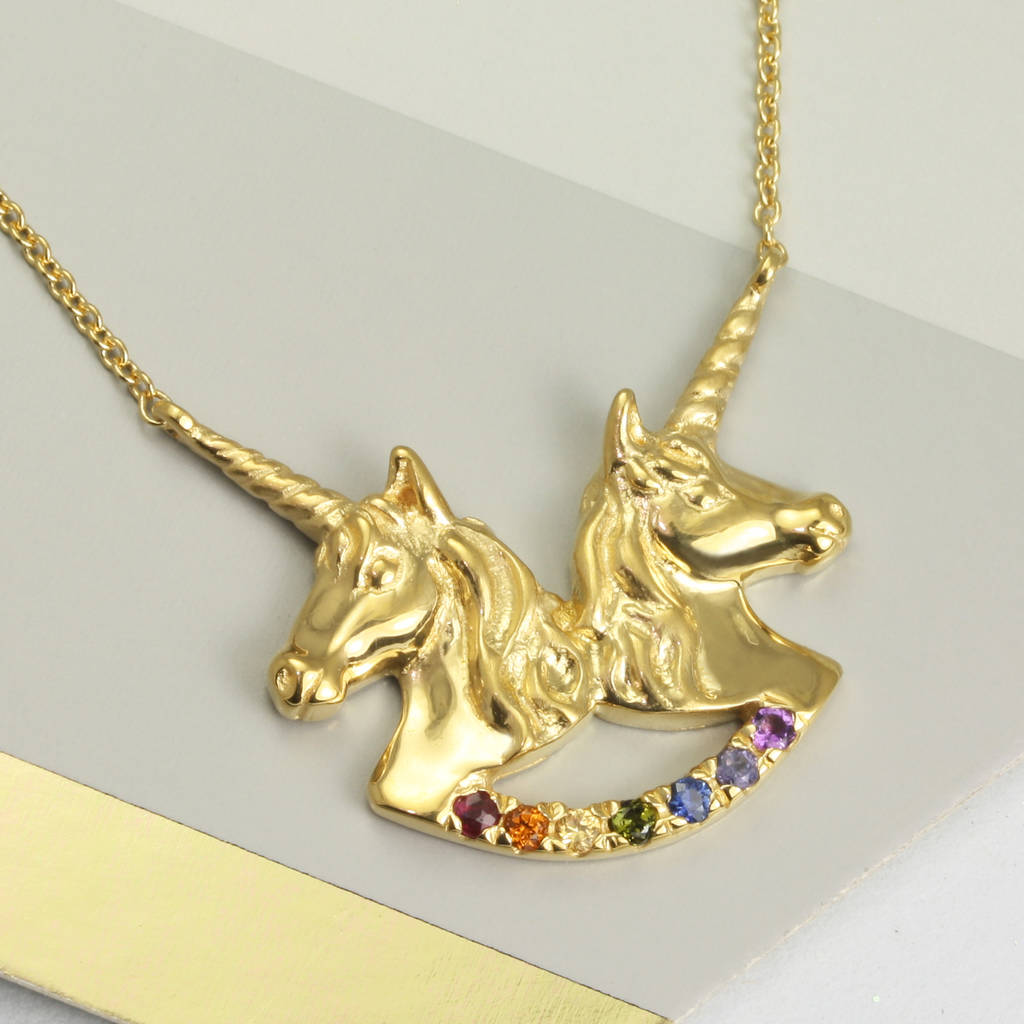 jewellery plated necklace charmed unicorn personalised cropped gold lily pendant