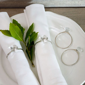 Silver Diamond Napkin Rings