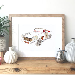 MG Midget Car Hand Drawn Illustration Print - shop by price