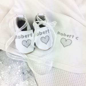 Personalised Embroidered Heart Christening Gift Box