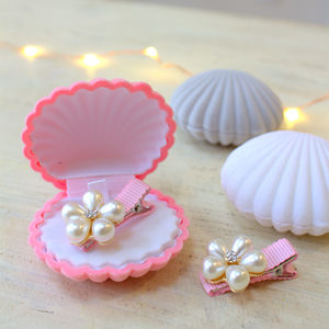 Mini Pink Pearl Hairclips In Shell Box - children's accessories