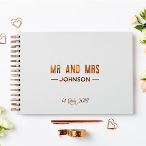 Personalised Copper Wedding Guest Book - guest books