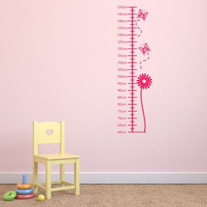Flower Height Chart Wall Sticker - children's room