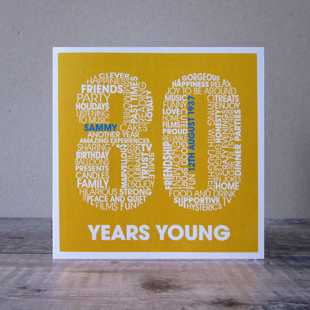 Personalised Eighty Years Old Card For Women 80th Birthday