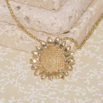 Gold Sunflower Pendant