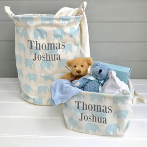 Personalised Blue Nursery Storage
