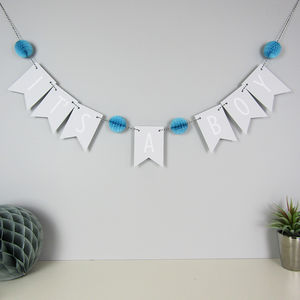 'It's A Boy' Bunting With Honeycomb Pom Poms