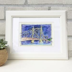 Hand Illustrated Albert Bridge Print