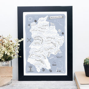 Bedfordshire County Map Print