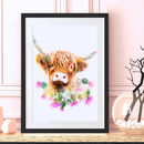 Highland Cow Wildlife Botanical Art Print
