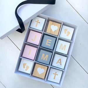 Personalised Christening Wooden Blocks Gift Box