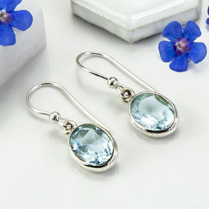 Sterling Silver Blue Topaz Oval Earrings - earrings