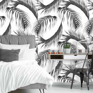 Monochrome Palm Leaf Self Adhesive Wallpaper - wallpaper