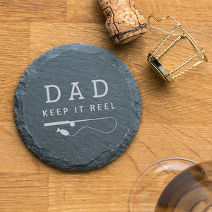 Personalised Funny Fishing Pun Slate Coaster - placemats & coasters